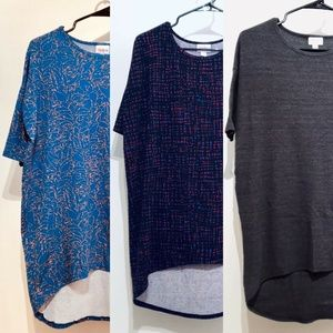 LuLaRoe Irma Hi-Low Tunic Top Lot of 3 Mix